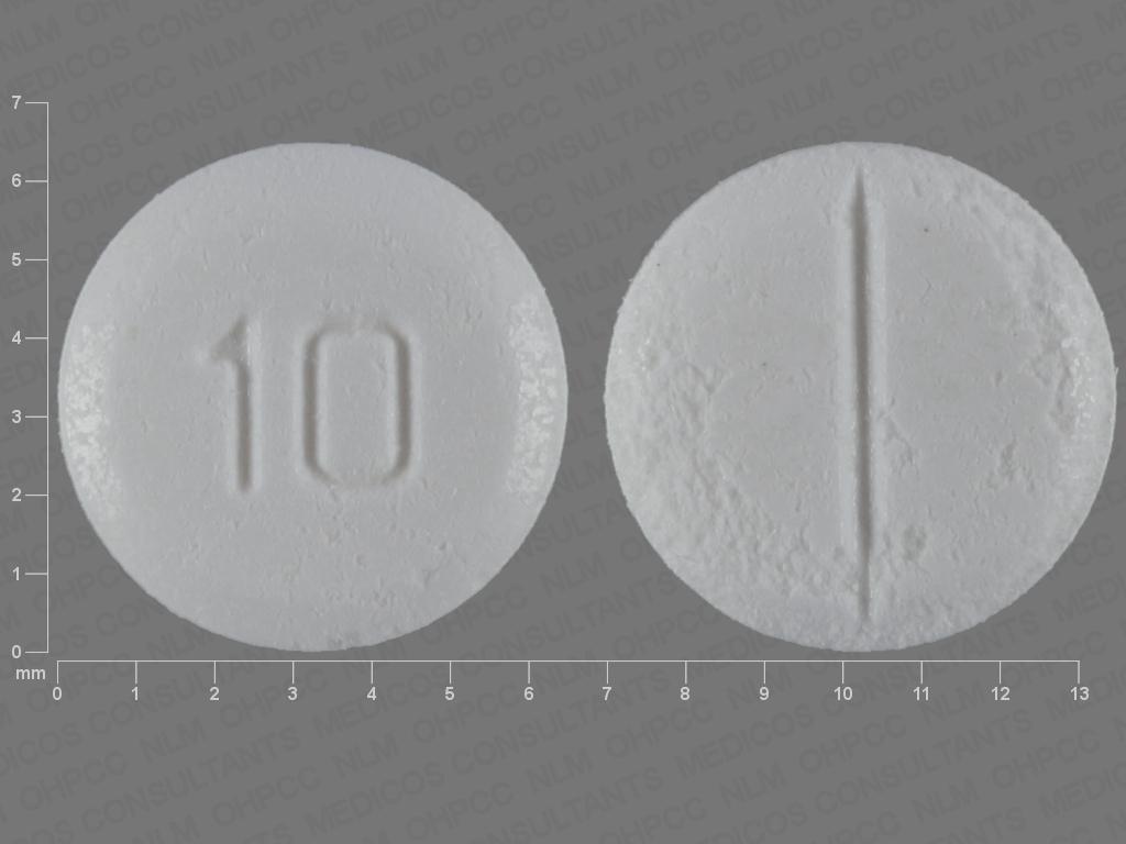 WHITE ROUND 10 hyoscyamine sulfate 0.125 MG Oral Tablet