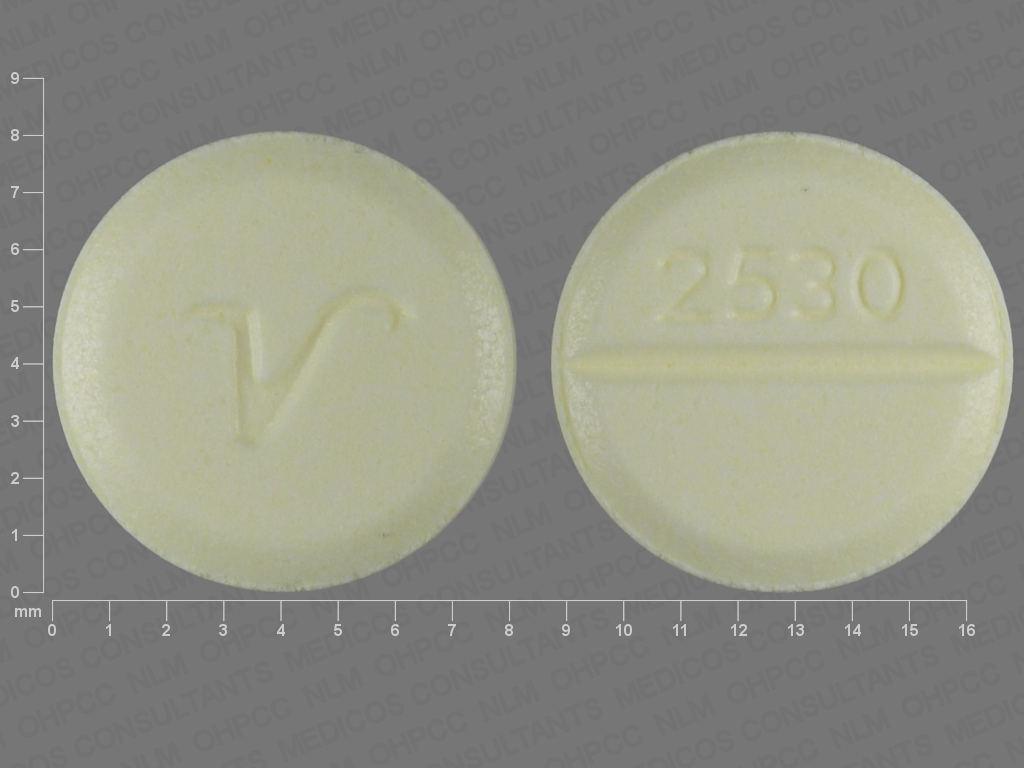 YELLOW ROUND v;2530 clonazepam 0.5 MG Oral Tablet