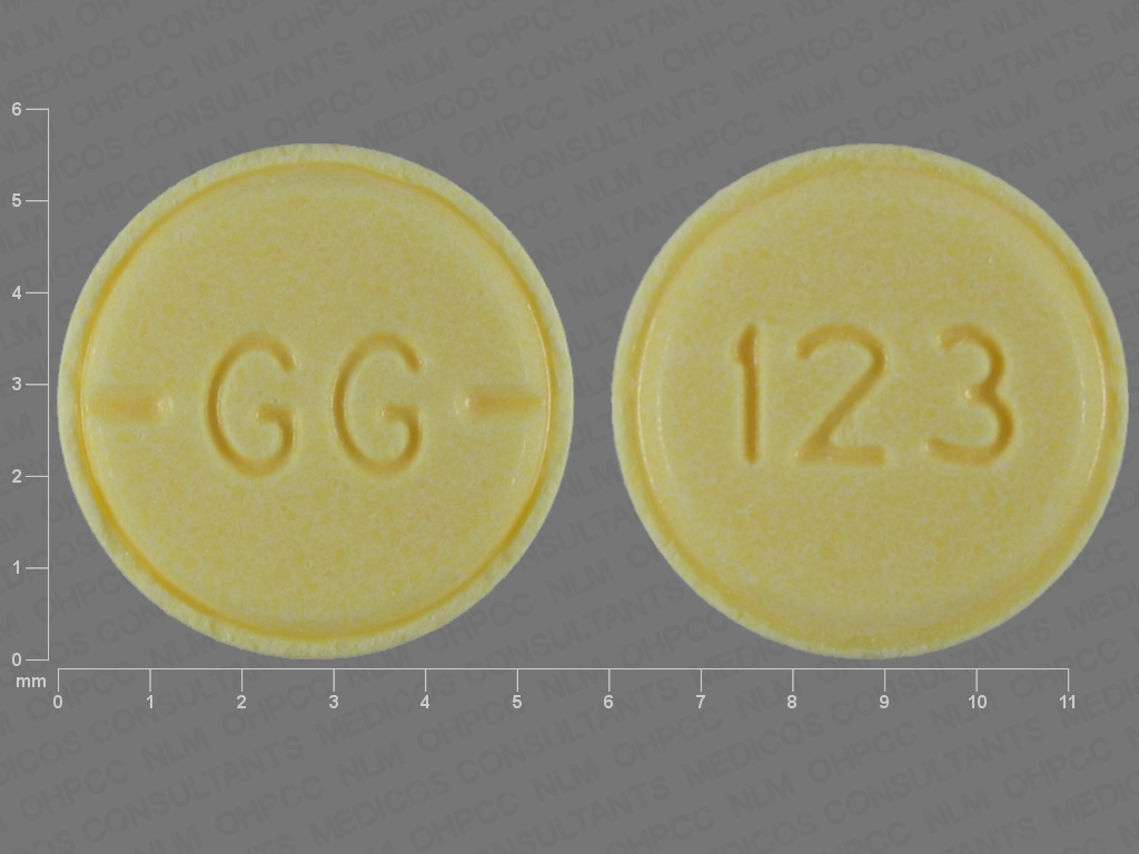 YELLOW ROUND GG;123 haloperidol 1 MG Oral Tablet