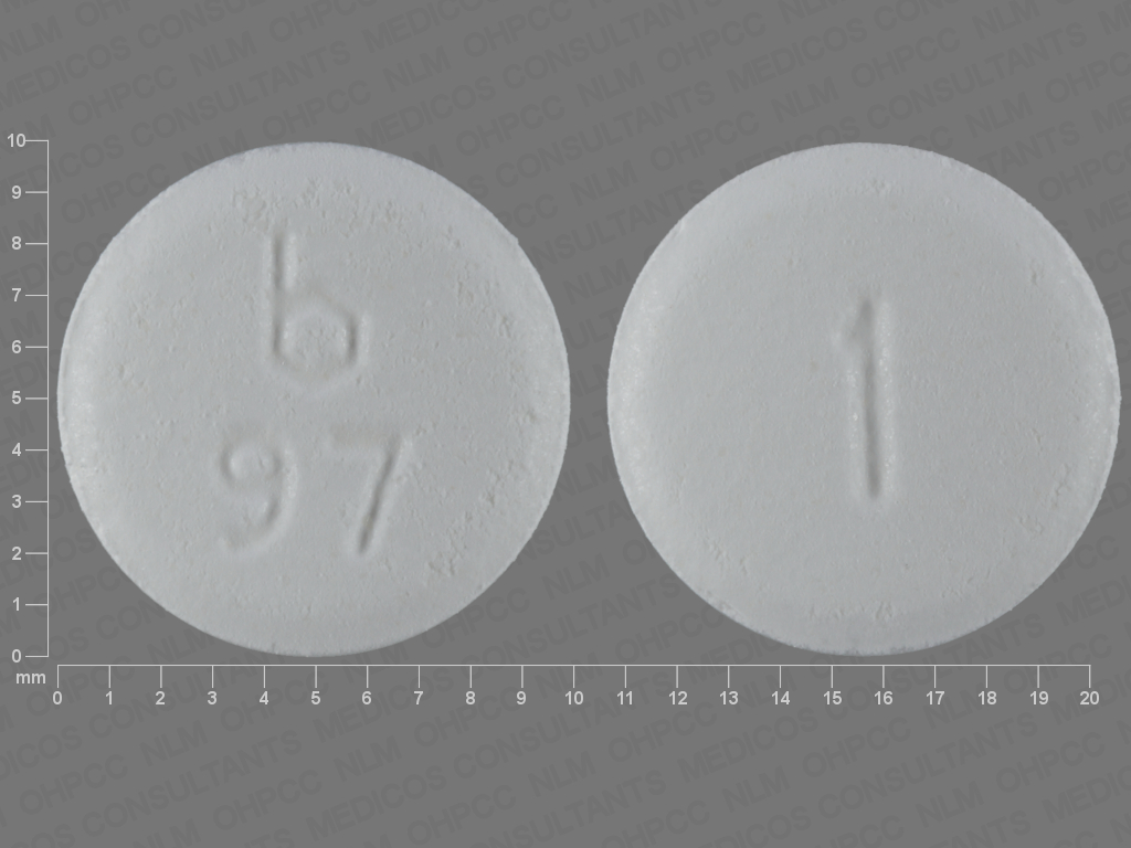 WHITE ROUND b;97;1 clonazepam 1 MG Disintegrating Oral Tablet