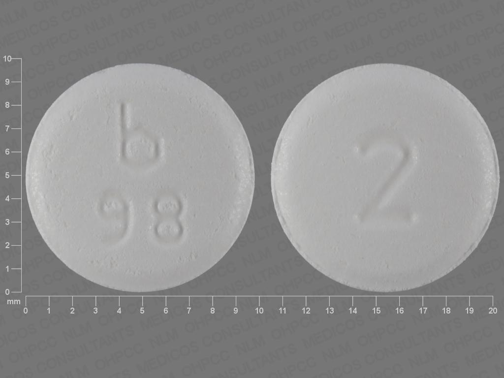 WHITE ROUND b;98;2 clonazepam 2 MG Disintegrating Oral Tablet
