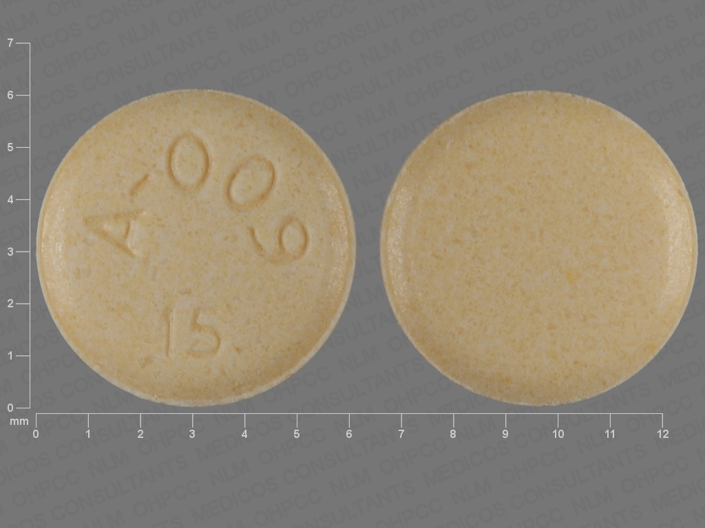 YELLOW ROUND A;009;15 aripiprazole 15 MG Oral Tablet [Abilify]