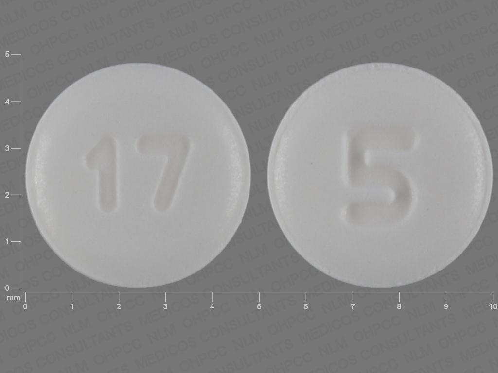 WHITE ROUND 5;17 aripiprazole 5 MG Oral Tablet
