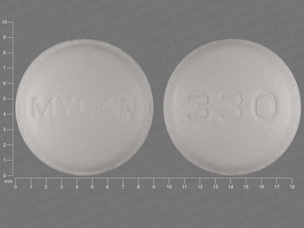 WHITE ROUND MYLAN;330 amitriptyline hydrochloride 10 MG / perphenazine 2 MG Oral Tablet
